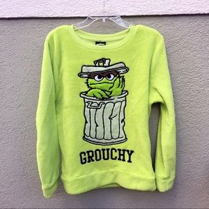 Sesame Street Oscar green fleece sweatshirt